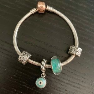 Rose gold pandora bracelet and charms